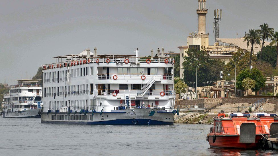 The Nile cruise ship A Sara moored in the city of Luxor, Egypt (9 March 2020)