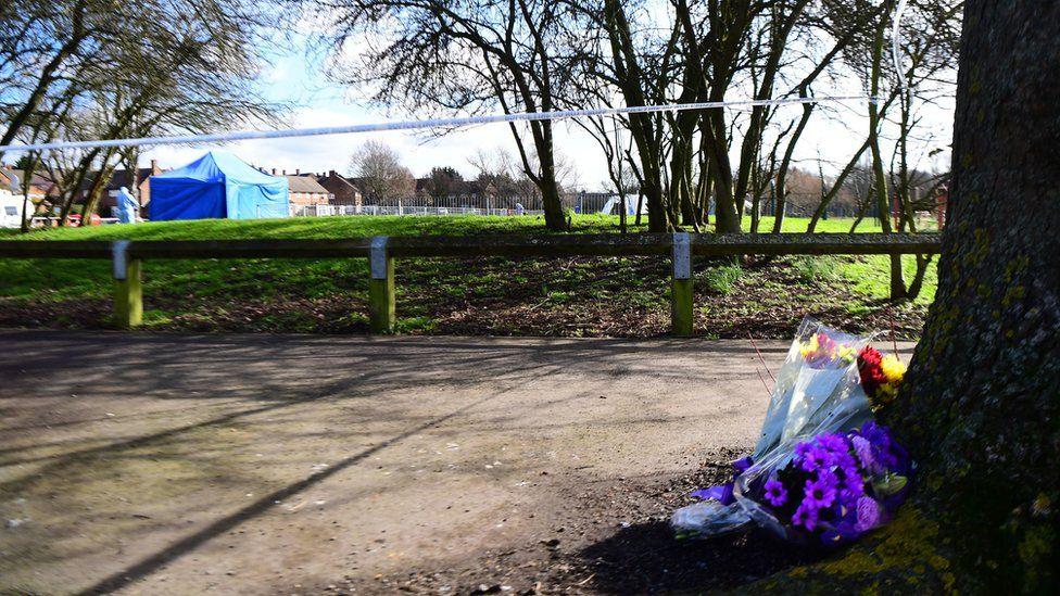 Floral tributes near crime scene