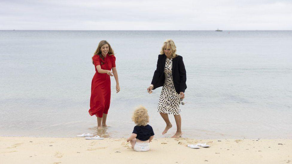 Carrie Johnson and Jill Biden
