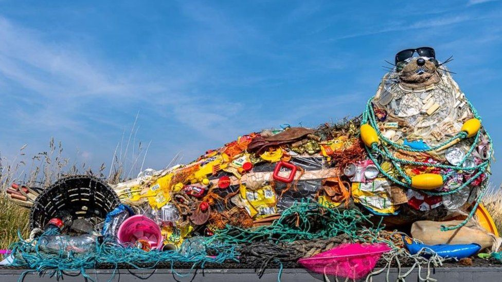 Seal sculpture made from Essex beach plastic rubbish