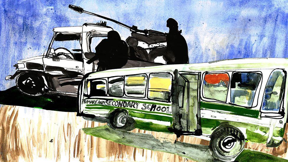 school bus with tank