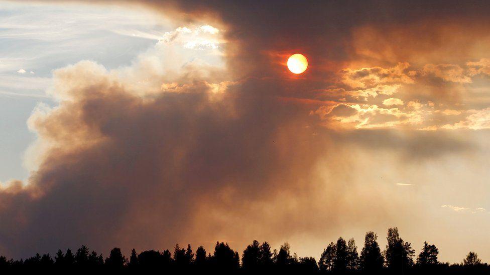 Fire burns in Karbole, Sweden, on July 15, 2018