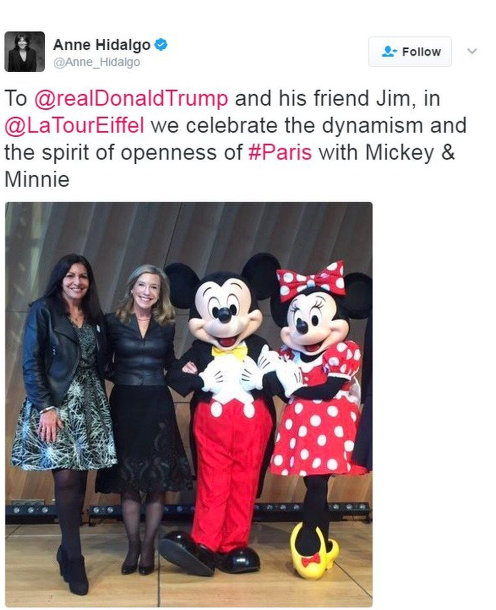 To @realDonaldTrump and his friend Jim, in @LaTourEiffel we celebrate the dynamism and the spirit of openness of #Paris with Mickey & Minnie