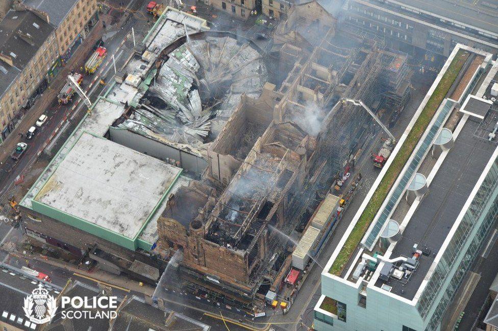Aerial shot of the scene