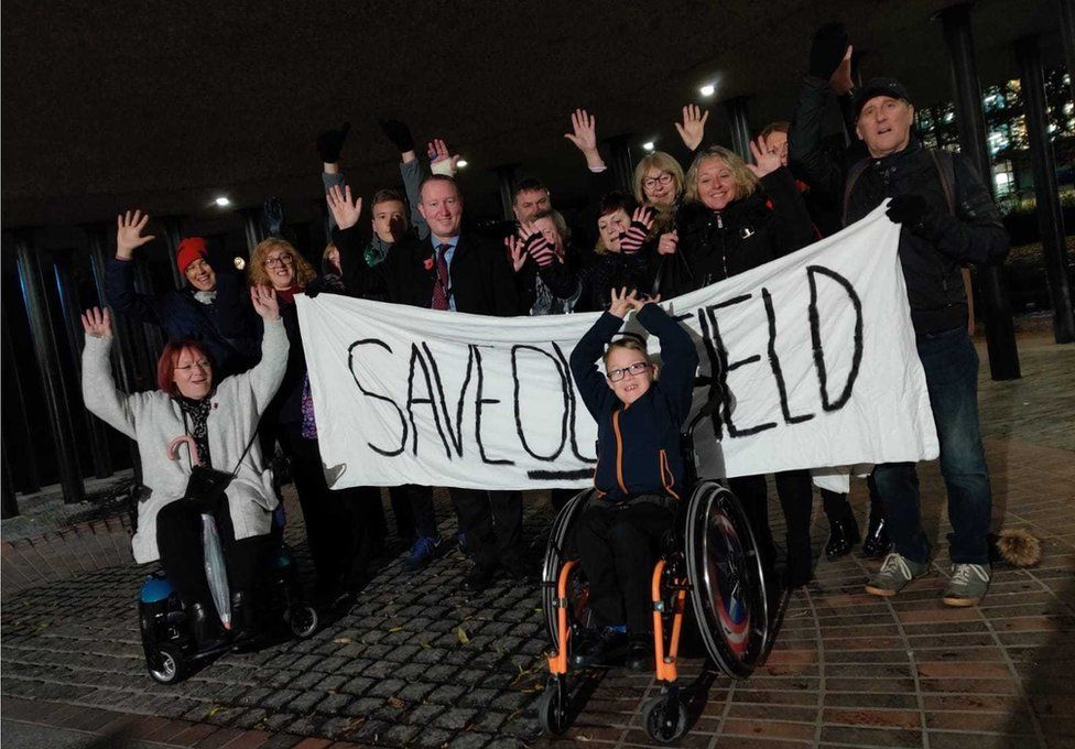 Save Our Field campaigners from West Denton, led by seven-year-old Dylan Kirkley, outside Newcastle Civic Centre