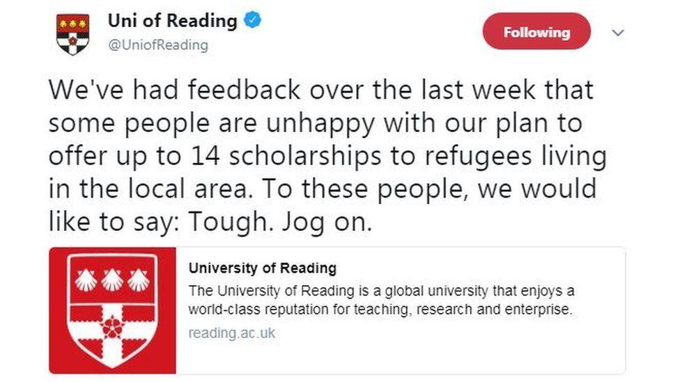 Tweet from Univeristy