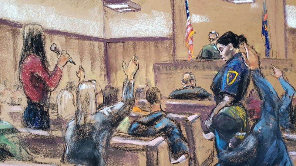 Potential jurors raise their hands and explain why they can't serve on the jury of film producer's Harvey Weinstein sexual assault trial, 8 January 2020