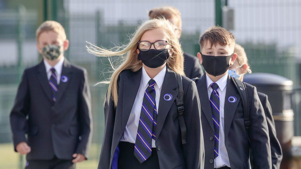 School children wearing masks