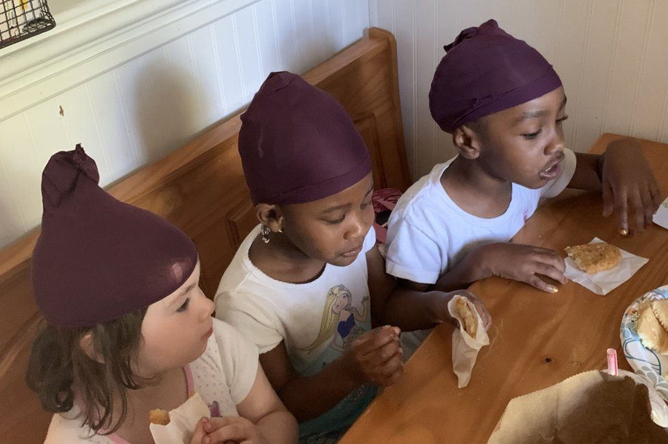 Ella, Ziva, MaKenna wearing stocking caps