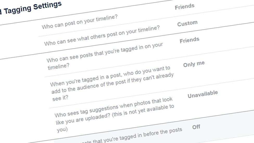 A slightly cropped and rotated screenshot of the tagging settings page on a Facebook profile