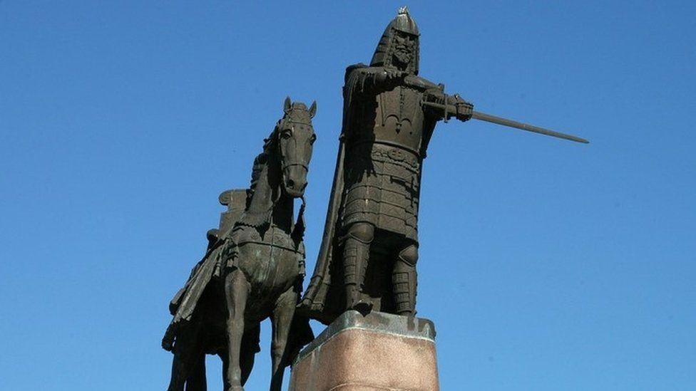A statue of Grand Duke Gediminas in Lithuania's capital Vilnius