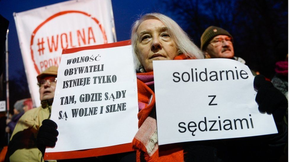 Protester outside the Justice Ministry, Warsaw, 1 December 2019