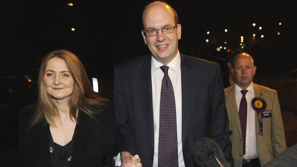 Mark Reckless with his wife Catriona Brown arriving at the Rochester by-election count in 2014