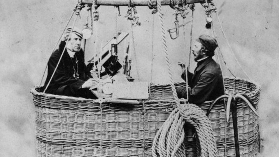 James Glaisher and English aviator Henry Tracey Coxwell in the basket of a giant gas balloon