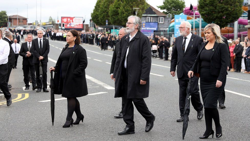 Sinn Féin's leader and deputy leader attended, along with former leader Gerry Adams (centre)
