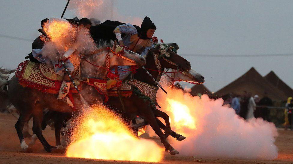 Horsemen at the Tan-Tan Moussem Berber festival, Tan-Tan, Morocco