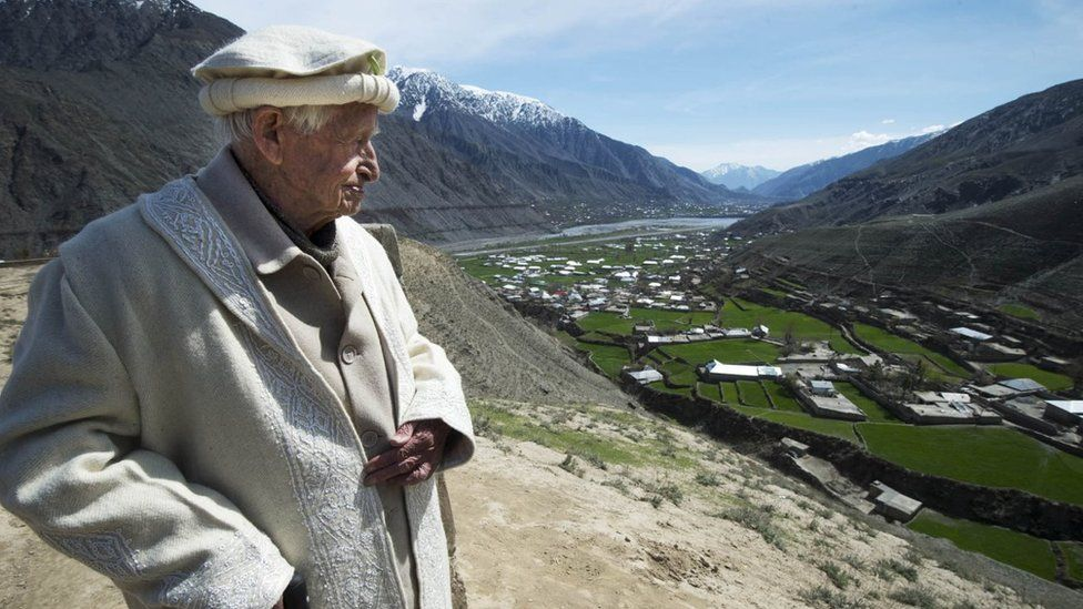 Maj Langlands looks out over a valley in northern Pakistan