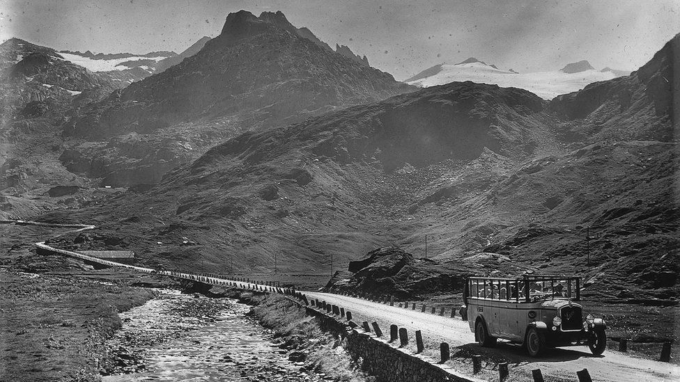 A post bus on the Gotthard pass, 1928-1938 pic courtesy Canton Ticino State Archives/alptransit-portal.ch
