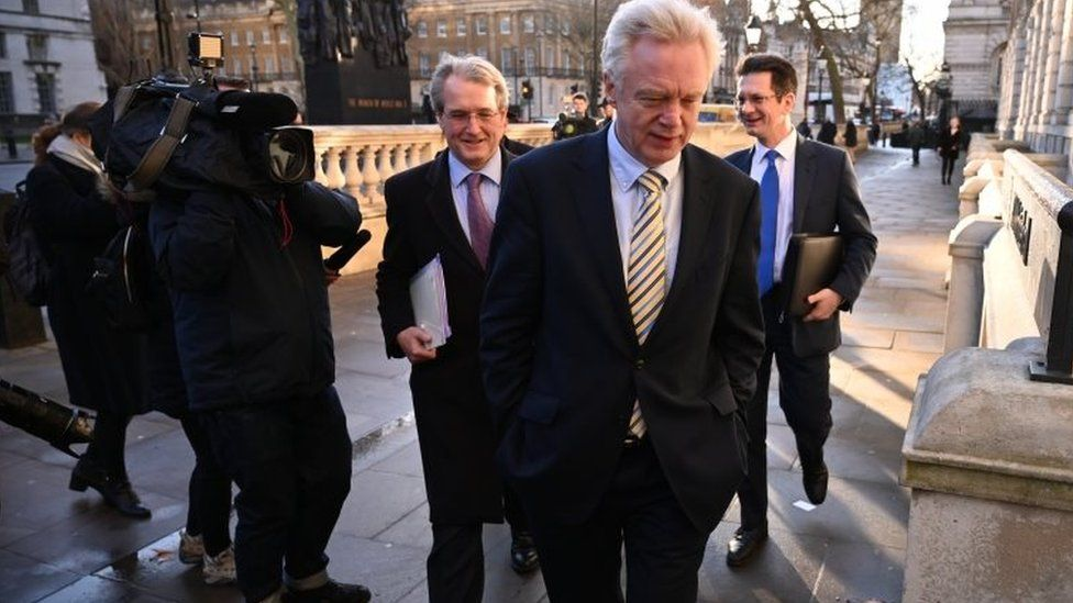 Former Brexit Secretary David Davis arriving at the Cabinet Office
