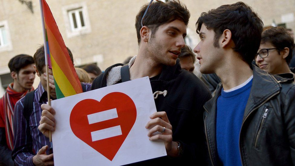 Protesters back same-sex unions in February 2016