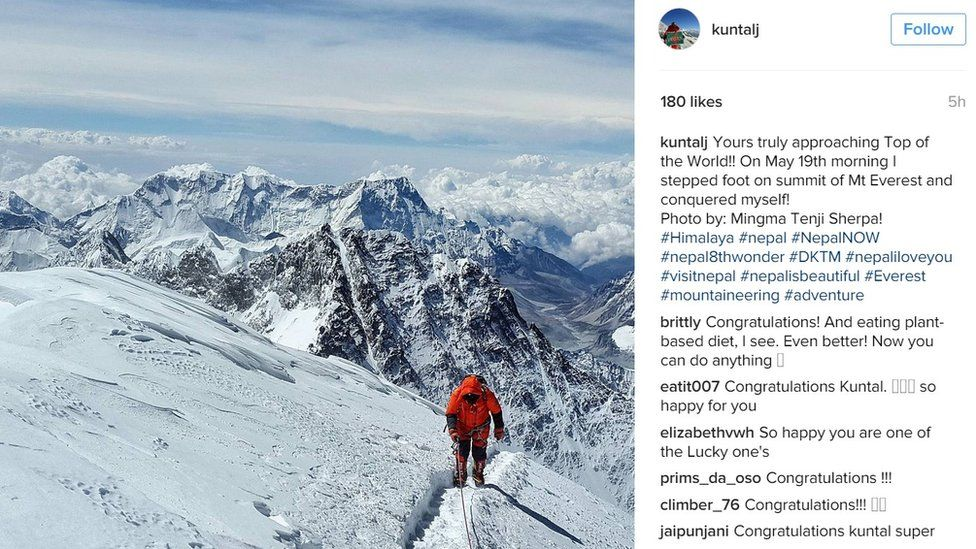 """Instagram post by Kuntal Joisher showing him on Everest, saying: """"Yours truly on top of the world"""" - 19 May 2016"""