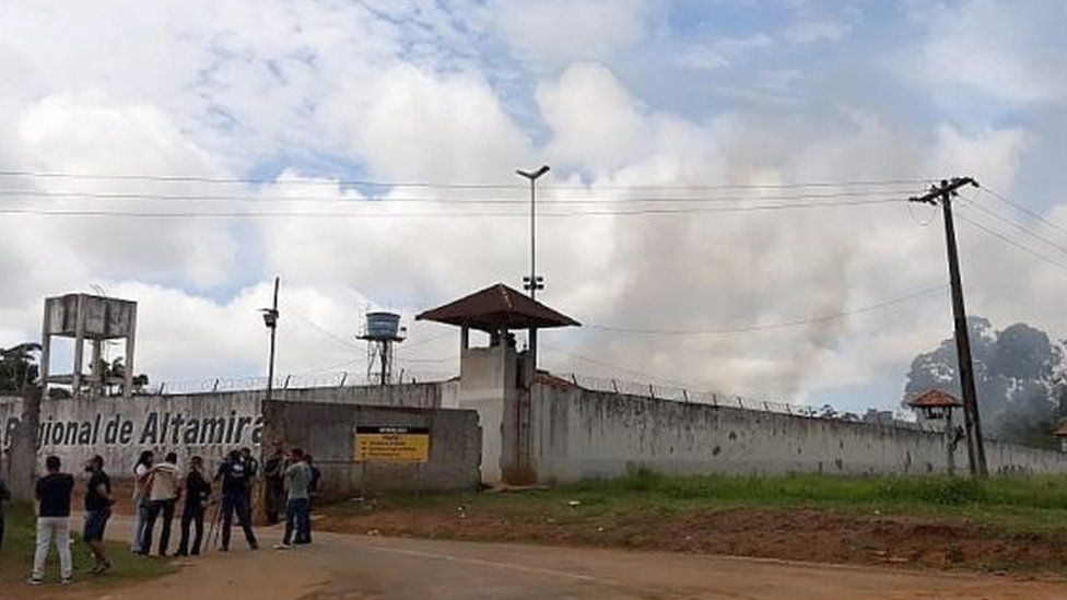 A handout photo made available by XINGU 230 shows a group of journalist waiting outside of a prison in Altamira, state of Para, Brazil, 29 July 2019.