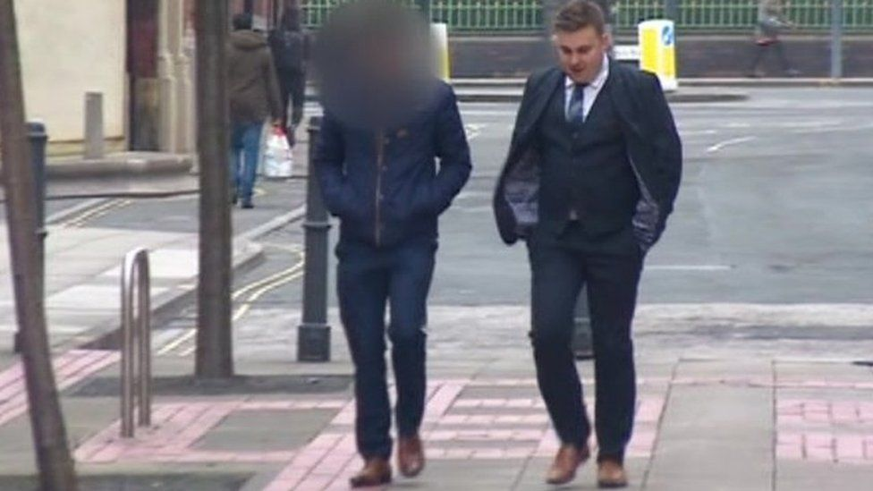 Luke Smith (right) arriving in court