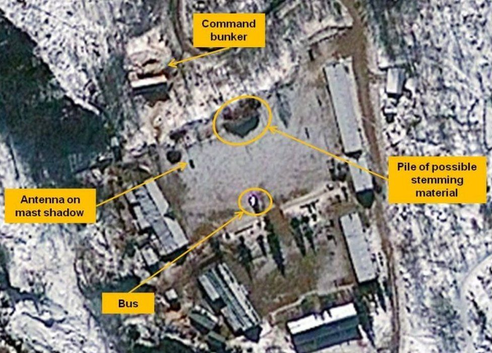 Satellite image of Punggye-ri nuclear test site highlighting possible indications of preparations for a nuclear test (23 Jan 2013)