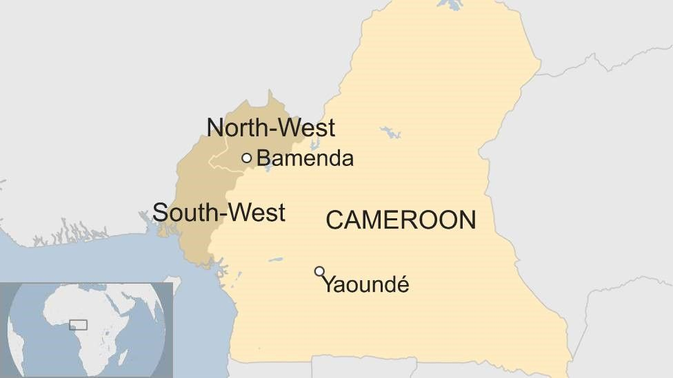 Map showing Cameroon