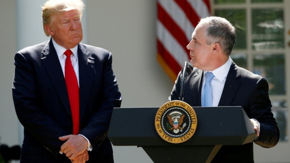 In June 2017 Mr Pruitt spoke as Mr Trump announced the US withdrawal from the Paris Climate Agreement