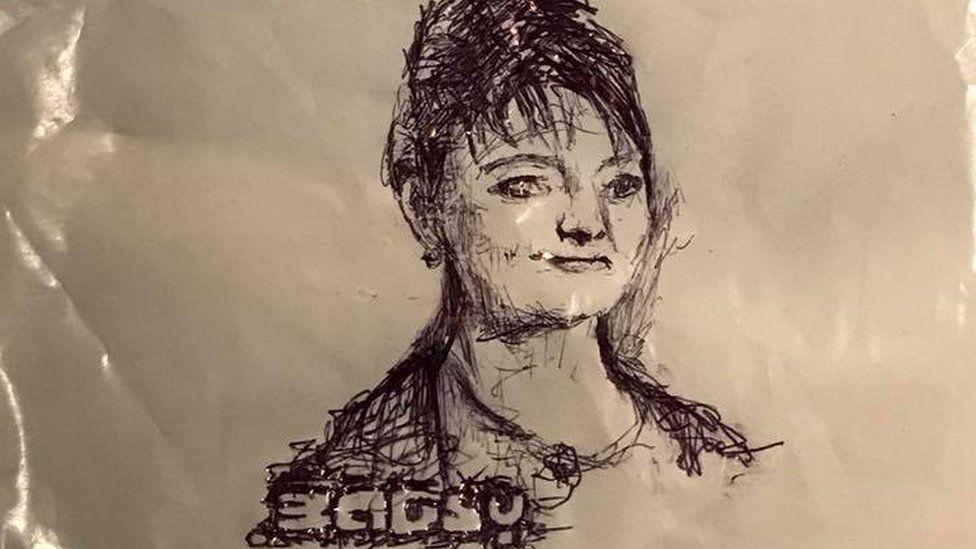 Image of Plaid Cymru leader Leanne Wood drawn by Bagsy on a carrier bag
