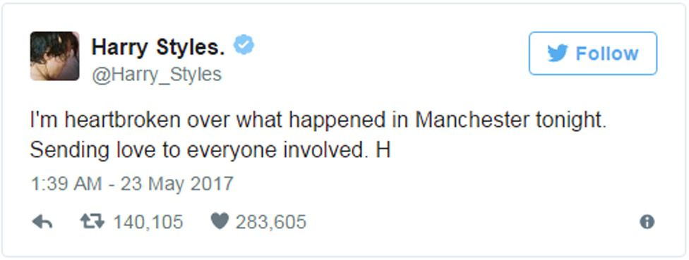 """Harry Styles tweet: """"I'm heartbroken over what happened in Manchester tonight. Sending love to everyone involved."""""""