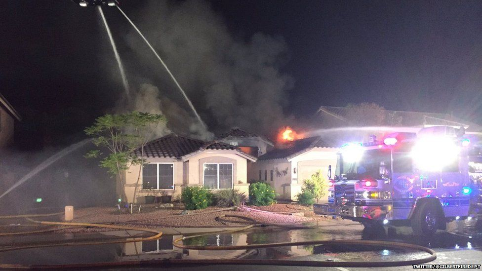 Firefighters tackling blaze at home