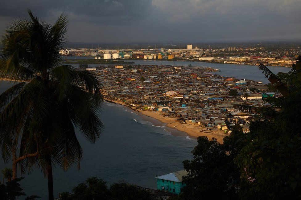 An aerial view of West Point, Monrovia, Liberia.