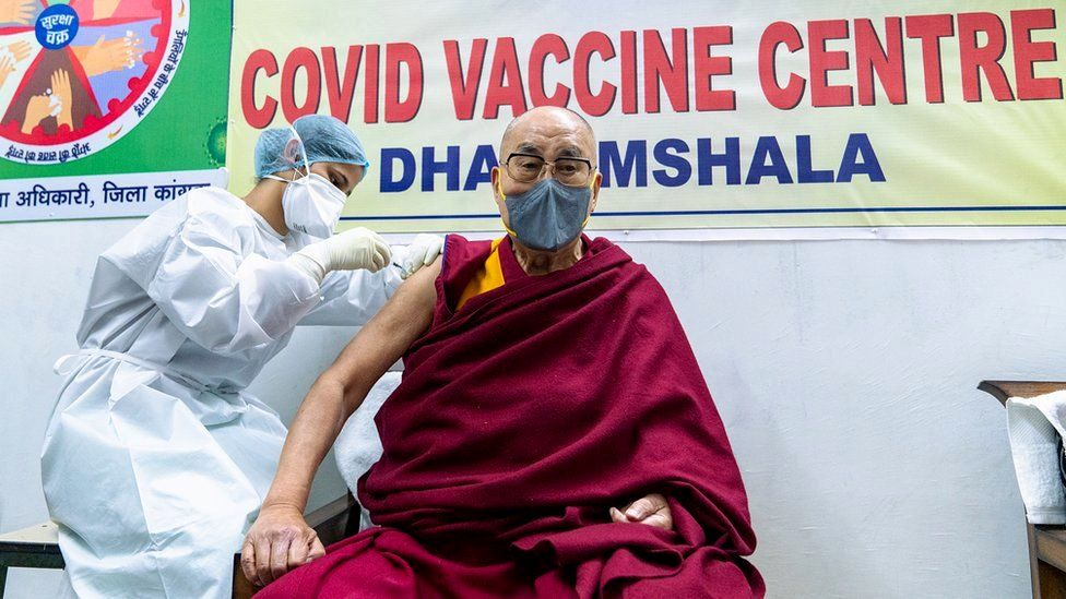 Tibetan spiritual leader the Dalai Lama receives a Covid-19 vaccine in Dharamsala, India, 6 March 2021