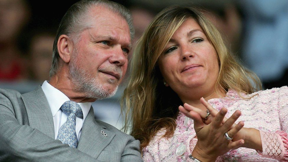 David Gold, Chairman of Birmingham City and Karren Brady MD of Birmingham City chat during a pre-season friendly between Derby County v Birmingham City at Pride Park, on July 23, 2005 in Derby, England.