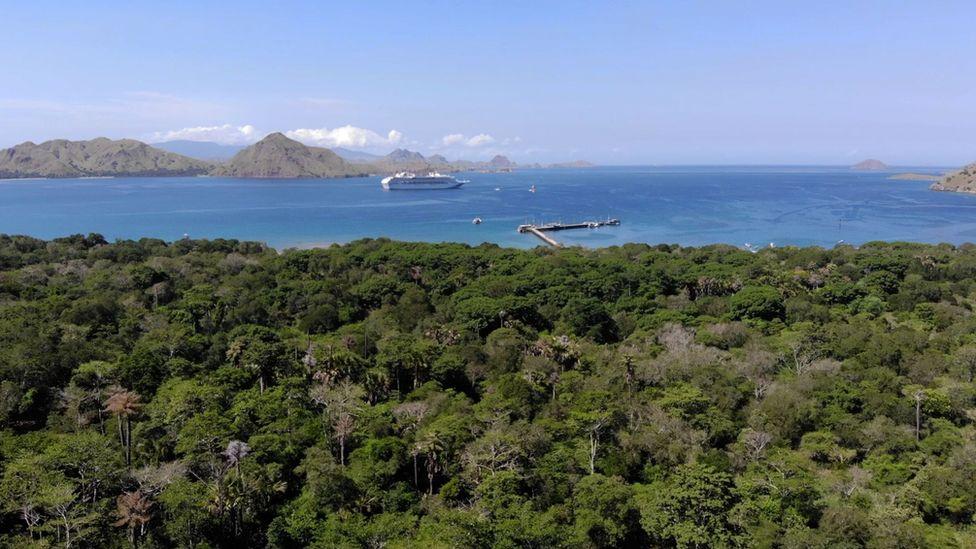 Un barco crucero en la bahía de Komodo