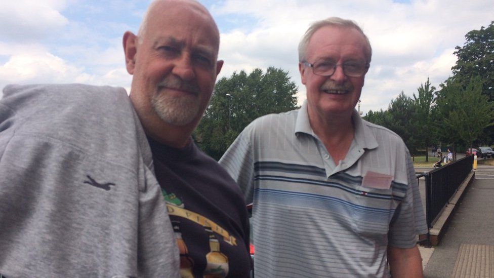 Tommy Johnson (left) and Jim Wilson in Gorton, Manchester