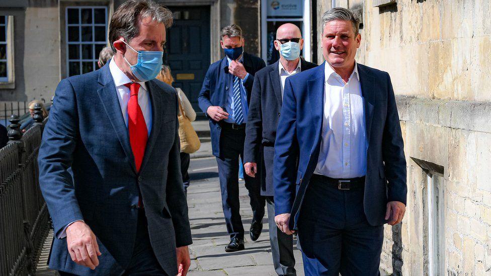 Labour leader Sir Keir Starmer, with Dan Norris, left.
