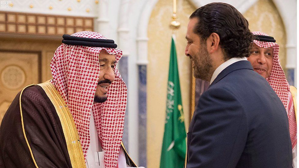 Mr Hariri (R) meets Saudi King Salman bin Abdulaziz al-Saud - 6 November