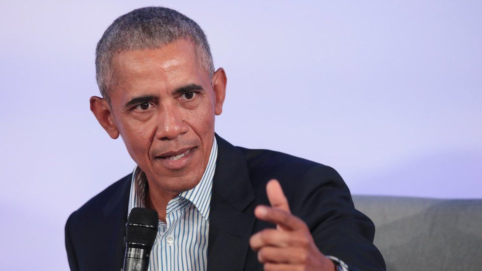 Former US President Barack Obama speaks to guests at the Obama Foundation Summit in Chicago, Illinois, on 29 October 2019