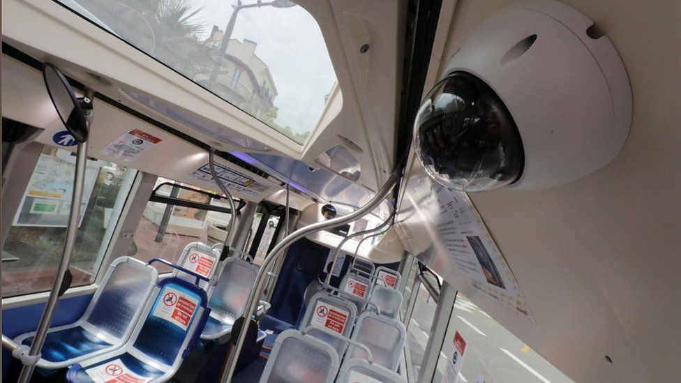 A surveillance camera on a bus in Cannes, 30 Apr 20