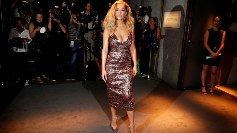 Singer Rita Ora arriving at Tom Ford's Autumn/Winter collection 2016