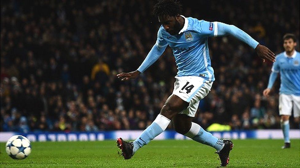 Wilfred Bony of Manchester City scores