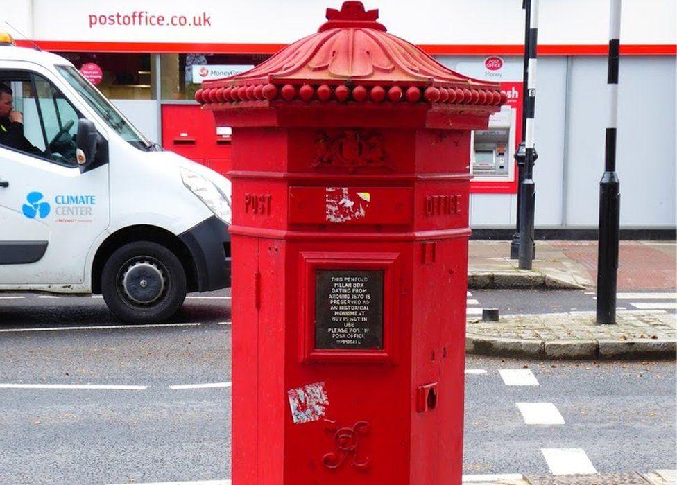 Post box on Hampstead High Street, London