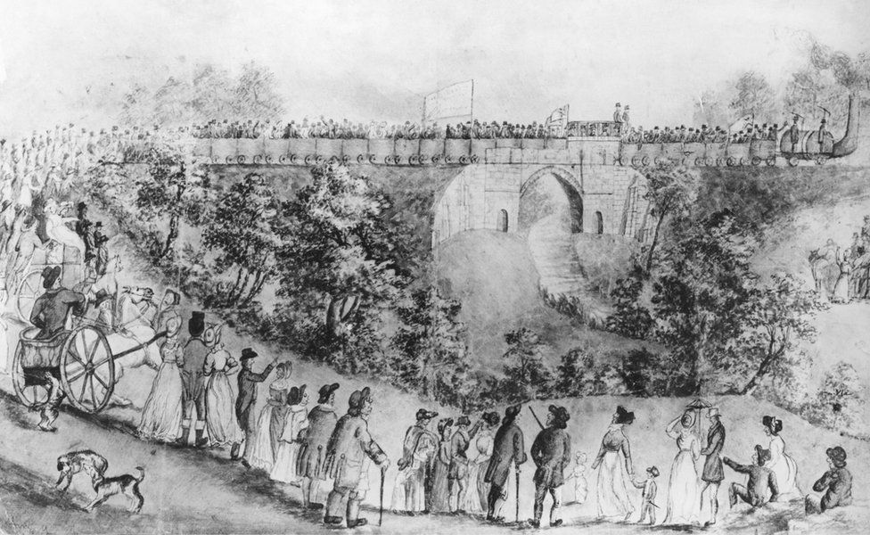 Sketch by John Dobbin of crowds gathered to watch the opening of the Stockton and Darlington Railway in 1825