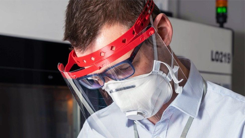 Image showing 3D printed face shield being worn