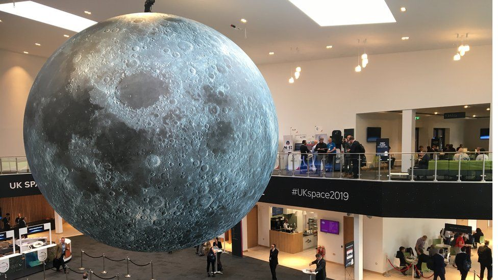 The foyer at the UK Space Agency conference at the International Conference Centre in Newport