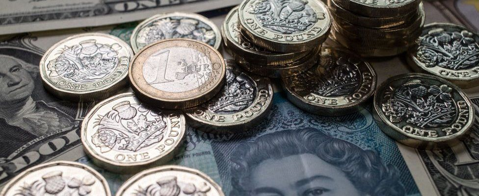Pound coins and dollars