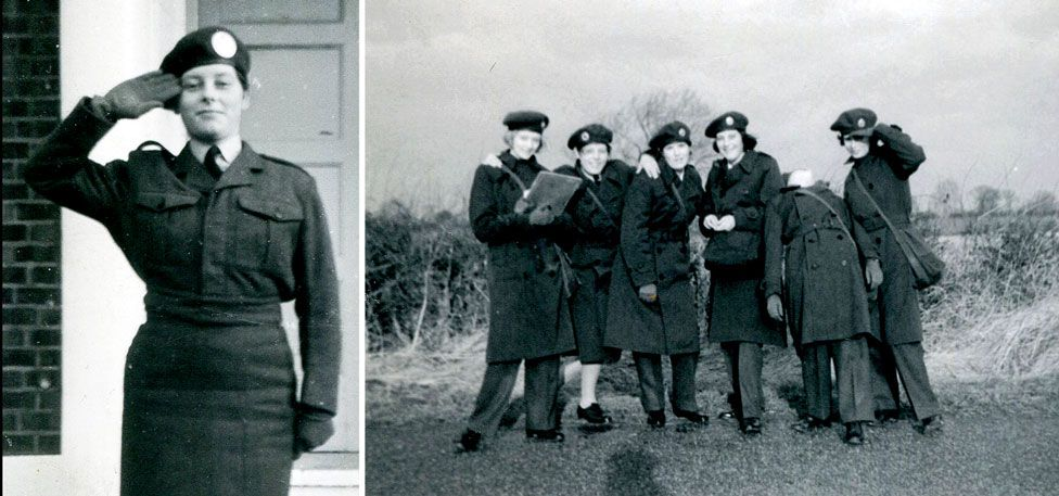 A group of women from the Women's Auxiliary Ferrying Squadron, including Pat Leckonby, posing together in the 1960s